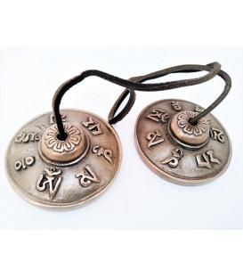 Cymbałki z Nepalu Tingsha - Om Mani Padme Hum 6.7 cm, 300 g, długi, głęboki dzwięk
