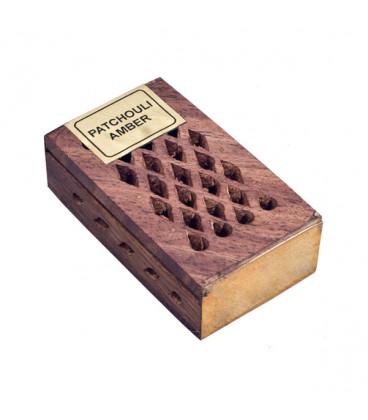 Żywica Zapachowa Patchouli i Ambra w szkatułce z drewna różanego 5g Song of India
