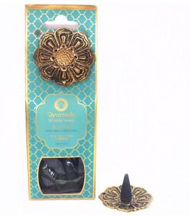 Kadzidełka 20 stożków z metalową podstawką - Nuta Morska z Oud Drewno Agarowe (Dosha Pitta) - Luxurious Veda