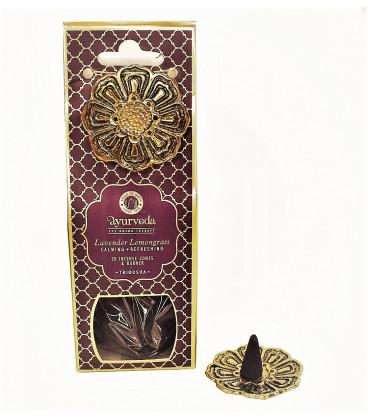 Kadzidełka 20 stożków z metalową podstawką - Nuta Lawenda & Trawa Cytrynowa (Tridosha) - Luxurious Veda