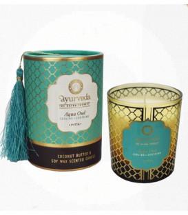 Luksusowa Świeca w brązowym orientalnym szkle - Harmonia - Świeżość Morza Aqua & Żywica Oud (Pitta) - 200 g Song of India