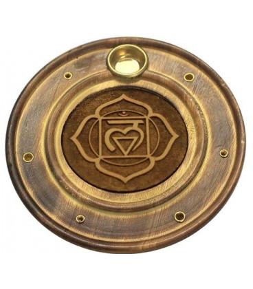 Podstawka na kadzidełka i rożki z drewna mango, z motywem Czakry Podstawy (Root Chakra) - szer.10 cm