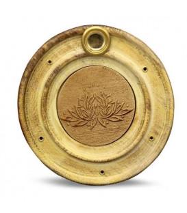 Podstawka na kadzidełka i rożki z drewna mango, z motywem Kwiatu Lotosa - szer.10 cm