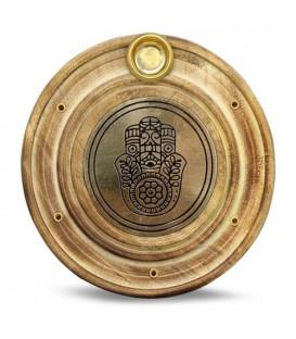 Podstawka na kadzidełka i rożki z drewna mango i mosiądzu, z motywem Fatima Hand - szer.10 cm
