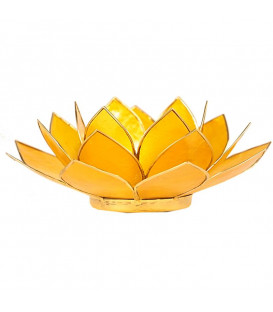 Świecznik żółty LOTOS z masy perłowej 3 Czakra Słoneczna - złote wykończenie, śred. 13,5 cm