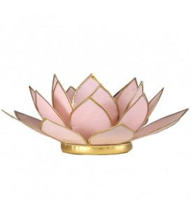 Świecznik Pastelowy różowy LOTOS z masy perłowej - złote wykończenie, śred. 13,5 cm