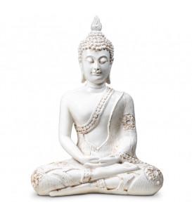 Figura Budda w Medytacji, biały z Tajlandii 760g. wys. 27.5 cm