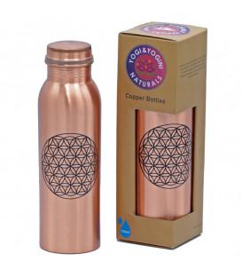 Miedziana butelka Copper Bottle flower of life printed  750 ml