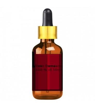Olej różany czysty 100% Rose Damascena Oil 10ml bursztynowa szklana buteleczka z zakraplaczem