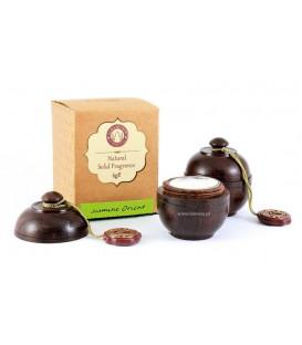 6 g. Solid Perfume in Smooth Rosewood Jars in Khaki Box Jasmine