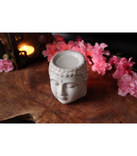 Buddha Head Oil Burner 8 cm (2 pcs) Black and White