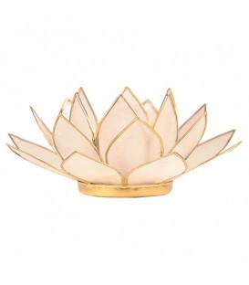 Świecznik LOTOS z naturalnej masy perłowej - złote wykończenie, śred. 13,5 cm