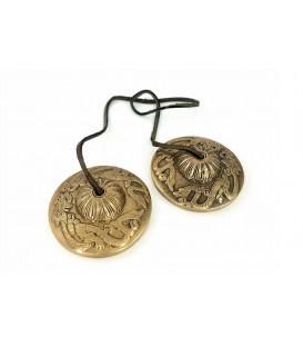 Cymbałki z Nepalu Tingsha - Symbol Smoka, średnica 7.2cm, 369g, z mosiądzu