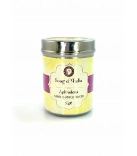 Szampon ziołowy w proszku zapach Aphrodesia w stalowym słoiczku 50 g Song of India