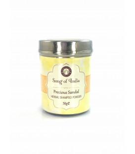 Szampon ziołowy w proszku zapach Drzewa Sandałowego w stalowym słoiczku 50 g Song of India