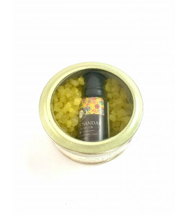 70 g. Aroma Crystals and 10 ml. Aroma Oil in Glass Tin Jar Precious Sandal