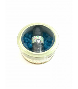 70 g. Aroma Crystals and 10 ml. Aroma Oil in Glass Tin Jar Nag Champa