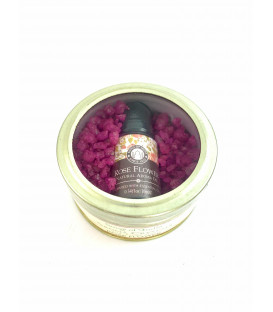 70 g. Aroma Crystals and 10 ml. Aroma Oil in Glass Tin Jar Rose Flower