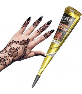 Henna w Rożku do aplikacji - kolor Czarny - do mehandi sztuki zdobienia ciała, 25g. Golecha