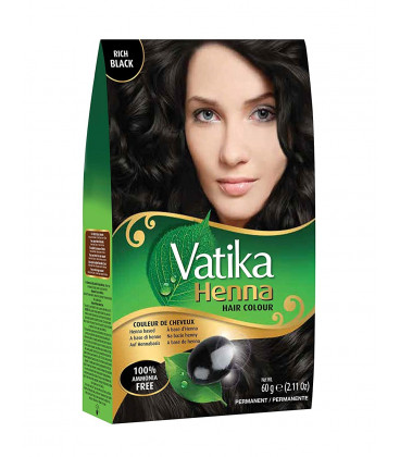 Henna do włosów Vatika Hair Color Natural Black - Głęboka Czerń  60g. Dabur