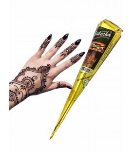 Henna Indyjska w Rożku - gotowa do aplikacji na ciało MEHANDI - kolor CZARNY, 25g. Golecha