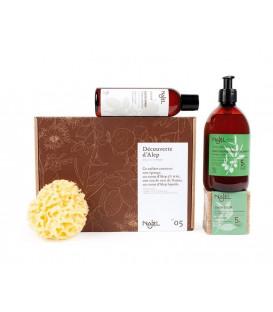 Zestaw prezentowy DISCOVERY OF ALEPPO Najel 2x mydła woda kwiatowa gąbka