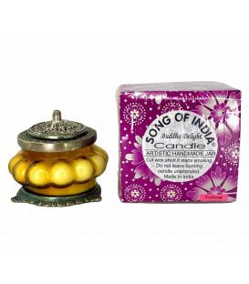 Świeca Ręcznie Robiona w żółtym szkle z orientalnym motywem - BUDDHA DELIGHT - Song of India