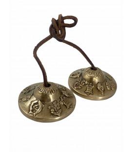 Cymbałki z Nepalu Tingsha - Asztamangala - Lucky Symbol, średnica 6cm, 200g, z Brązu