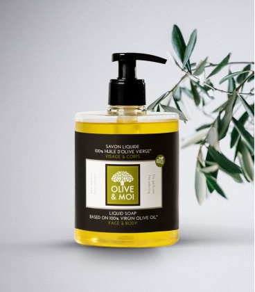 Olive & Moi - Nature - Savon Liquide 500 ml : 100% HOV - Bio Cosmos Organic Certified by IONC