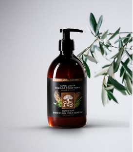 Mydło w płynie BIO dla Mężczyzn Wetiver & Oliwa 100% organiczna oliwa z oliwek Extra Virgin 500ml Olive & Moi