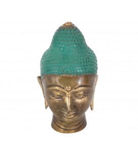 Buddha head in beautifully colored green cast bronze