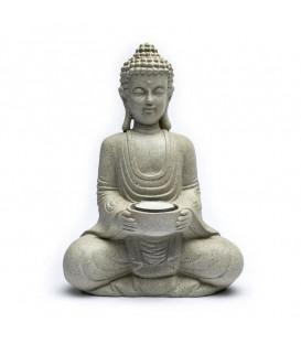 Meditation Buddha with candleholder grey colour  27 cm