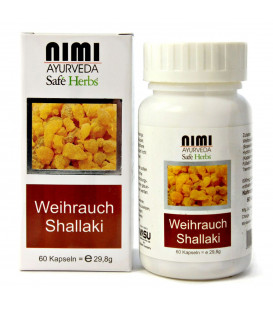 Suplement z ekstraktem z Boswelii - Shallaki (Indyjskie Olibanum), 60 kapsułek (29,8 g) Nimi Ayurveda