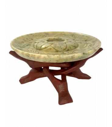Kadzielnica Miseczka kamienna do spalania żywicy zapachowej i stożków na drewnianym dużym stojaku, Song of India