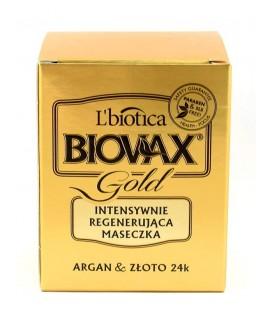 Biovax Gold 125ml - Intensywnie regenerująca maseczka do włosów z drobinkami złota Argan i złoto 24k L'biotica