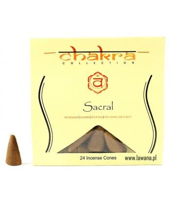 Kadzidła stożkowe SACRAL na 2 czakrę 24 sztuki Song of India
