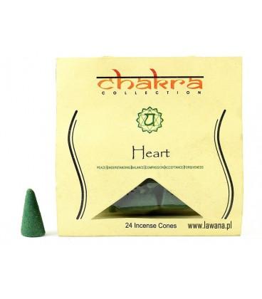 Kadzidła stożkowe HEART na 4 czakrę  24 sztuki Song of India