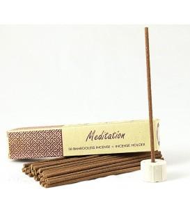 Nie zawierające bambusa kadzidła indyjskie z ceramicznym stojakiem MEDITATION 50 sztuk Song of India