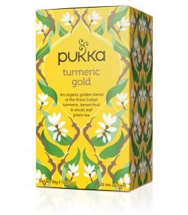 Herbata Turmeric Gold - z korzeniem kurkumy i olejkiem cytrynowym - 20 torebek, Pukka