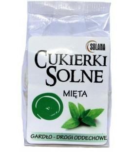 Cukierki solne o smaku miętowym z solą kamienną, 100g