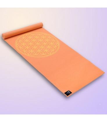 "Yogimat Basic ""Flower of Life"", Mango (mango-orange / 185 cm x 61 cm x 4 mm) Measures: 183 cm x 61 cm x 4 mm"