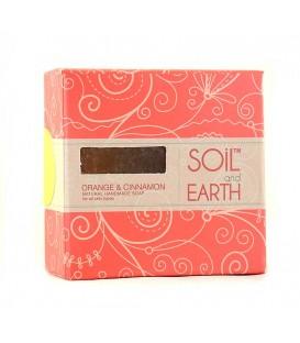 Ręcznie robione w Indiach mydło POMARAŃCZA z CYNAMONEM 100% VEGAN 125g Soil & Earth - Soczyste Odświeżenie