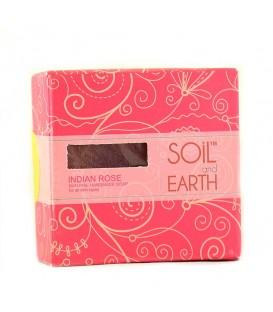 Ręcznie robione w Indiach mydło 100% VEGAN - INDYJSKA RÓŻA 125g Soil & Earth - Subtelny Kwiatowy Aromat