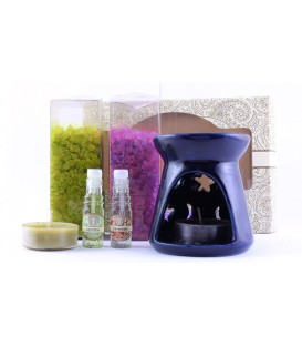 Zestaw do aromaterapii Lawenda & Jaśmin- kominek, 2 olejki eteryczne, 2 świeczki, Song of India