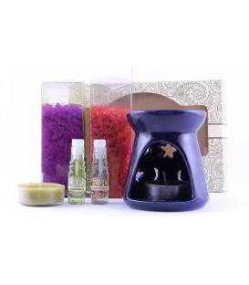 Zestaw do aromaterapii Miłosny Aphrodesia & Heart - kominek, 2 olejki eteryczne, 2 świeczki, Song of India