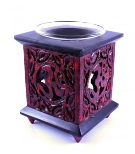 Czerwony kominek kamienny do olejków eterycznych/ Świecznik zapachowy
