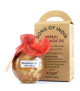Ziołowy olej do masażu z aromatyczną esencją Neem i Tulsi, Song of India, 100ml