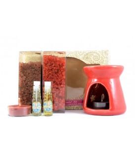 Zestaw Świąteczny do aromaterapii Cinnamon & Christmas Berry - kominek, 2 olejki eteryczne, 2 świeczki, Song of India