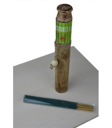 Kadzidła Citronella Zestaw 2w1 - drewniana tuba do przechowywania i korek podstawka, 25g, Song of India