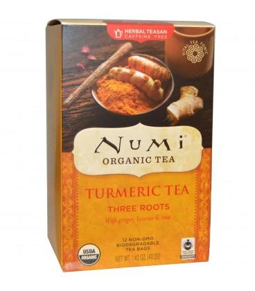 BIO Herbata Trzy korzenie, Kurkuma & Imbir & Lukrecja, Numi Organic Tea, 12 saszetek
